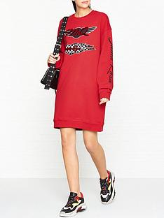 mcq-alexander-mcqueen-slouchy-sweat-logo-dress--red
