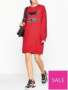 mcq-alexander-mcqueen-slouchy-sweat-logo-dress--red
