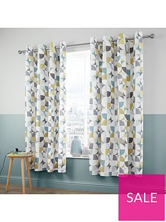 catherine-lansfield-retro-circles-eyelet-curtains