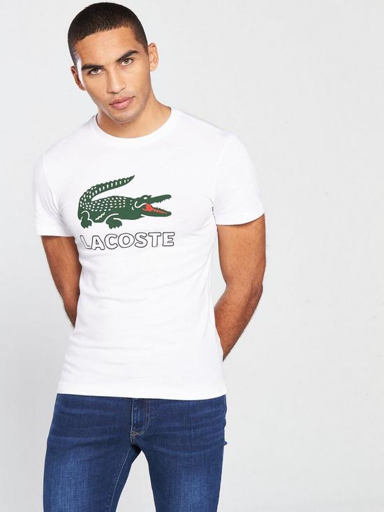 5efcb2f2a235f Lacoste Sportswear Big Croc Logo T-Shirt - White