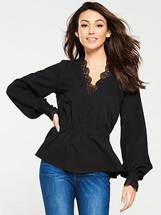 05c9ccec69e Michelle Keegan Lace Trim Blouse - Black