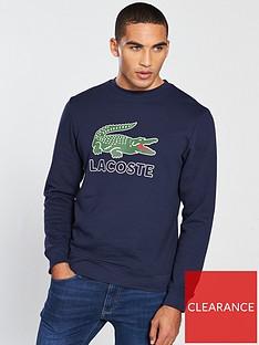 22546dff8a Lacoste Sportswear Big Croc Logo Crew Neck Sweater - Navy