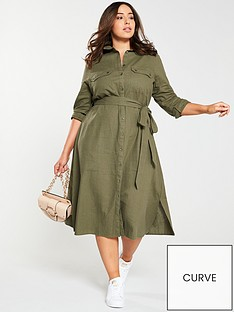 166291f9ff5b7 V by Very Curve Button Through Linen Shirt Dress - Khaki