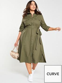 v-by-very-curve-button-through-linen-shirt-dress-khaki