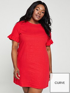 80752c582c8 V by Very Curve Linen Ruffle Shift Dress - Red