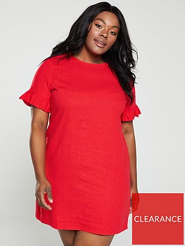 v-by-very-curve-linen-ruffle-shift-dress-red