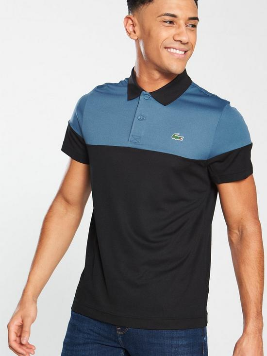 d10838a3 Lacoste Colour Block Polo Shirt - Black/Navy | very.co.uk