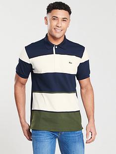 7720bf136889 Lacoste Sportswear Striped Polo - Ecru Marine