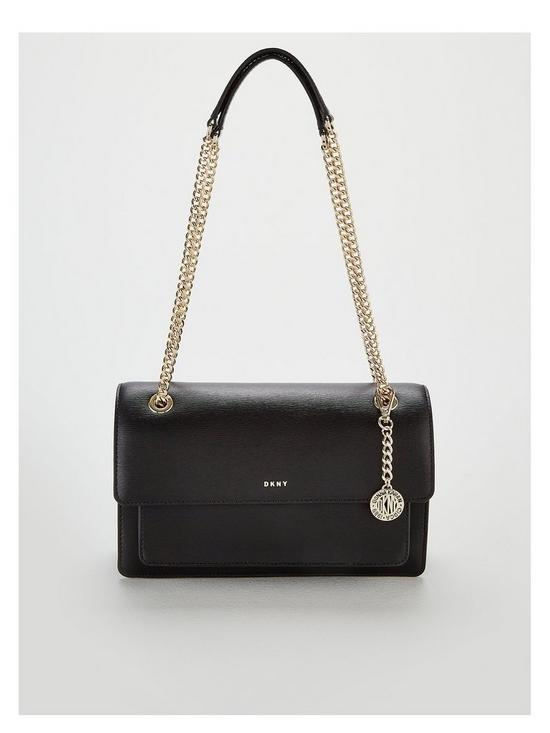 8bf727a1ba0 DKNY Bryant Chain Sutton Leather Flap Large Crossbody Bag - Black Gold