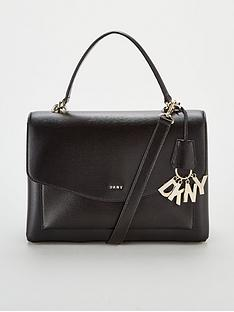 DKNY Paige Sutton Leather Medium Satchel Bag - Black f929e03d58c45