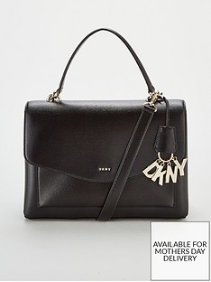 0a02ff681e83 DKNY Paige Sutton Leather Medium Satchel Bag - Black