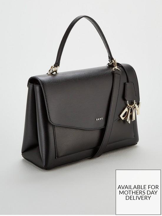 DKNY Paige Sutton Leather Medium Satchel Bag - Black 31bd48b8fbedb
