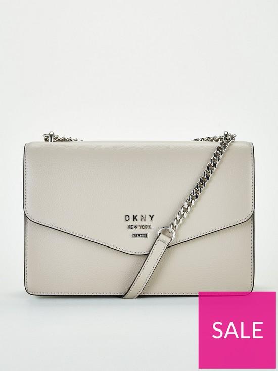 379de58a6 DKNY Whitney Pebble Leather Flap Large Shoulder Bag - Fog | very.co.uk