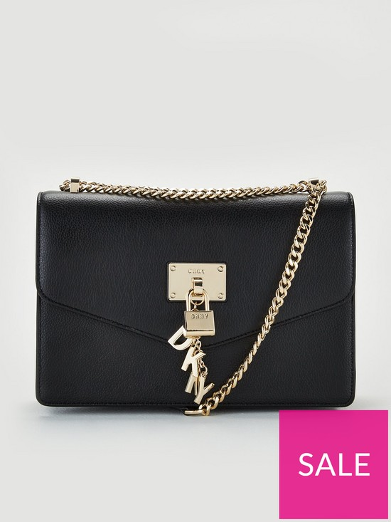 a24cc86da DKNY Elissa Pebble Leather Flap Large Shoulder Bag - Black   very.co.uk