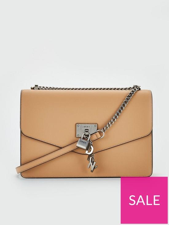 7a70a50a3 DKNY Elissa Caviar Leather Flap Large Shoulder Bag - Latte | very.co.uk