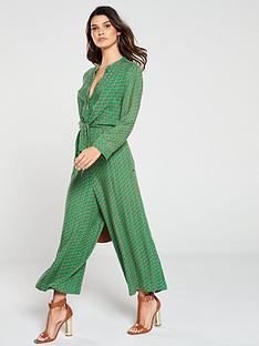 maison-scotch-knot-front-printed-wide-leg-jumpsuit-green