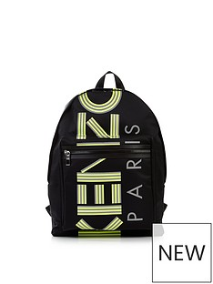 kenzo-nylon-logo-print-backpack-black