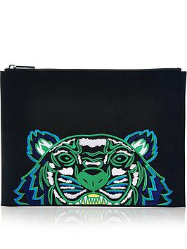 kenzo-embellished-tiger-canvas-pouch-black