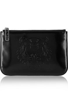kenzo-embossed-tiger-pouch-black