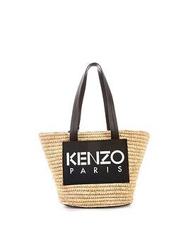 kenzo-logo-print-straw-bag-black