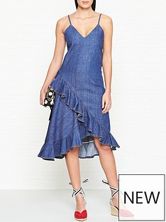 kenzo-ruffle-trim-denim-dress-denim