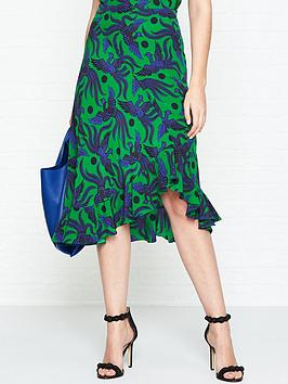 kenzo-flying-phoenix-asymmetric-ruffled-midi-skirt-green