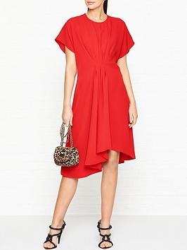 kenzo-asymmetric-midi-dress-red