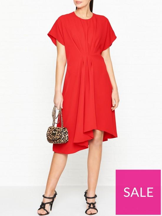 30fa14f2b7d5 Kenzo Asymmetric Midi Dress - Red   very.co.uk
