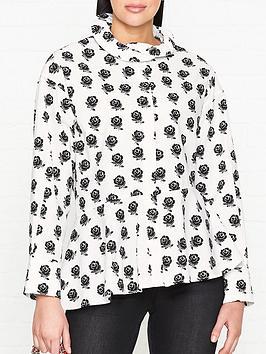 kenzo-long-sleeve-cotton-shirt-with-ruffle-collar-white