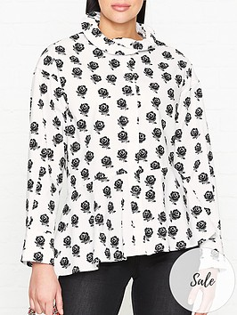 kenzo-long-sleeve-cotton-shirt-with-ruffle-collar-white