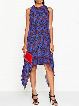 kenzo-flying-phoenix-pleated-sleeveless-dress-cobalt