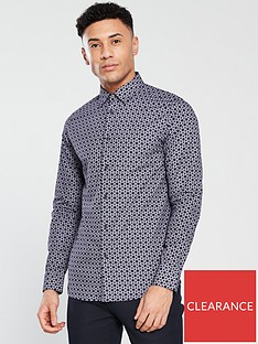 be3f72abe84e26 Ted Baker Long Sleeve Geometric Printed Shirt - Navy