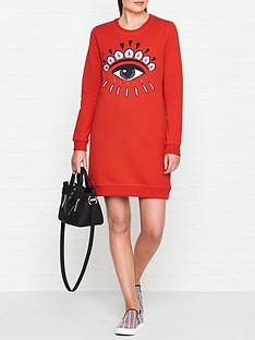 kenzo-classic-eye-sweatshirt-dress-red
