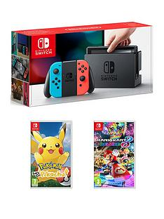 nintendo-switch-neon-console-with-pokemon-lets-go-pikachu-and-mario-kart-8-deluxe