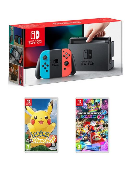 92aa0a25fd Nintendo Switch Neon Console with Pokemon: Let's Go! Pikachu and Mario Kart  8 Deluxe
