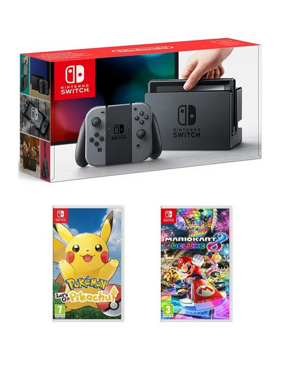802325325 Nintendo Switch Grey Console with Pokemon: Let's Go! Pikachu and Mario Kart  8 Deluxe