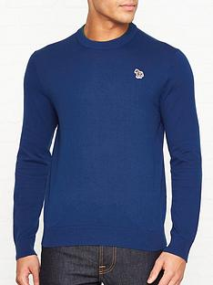 ps-paul-smith-zebra-logo-knitted-cotton-jumpernbsp--blue