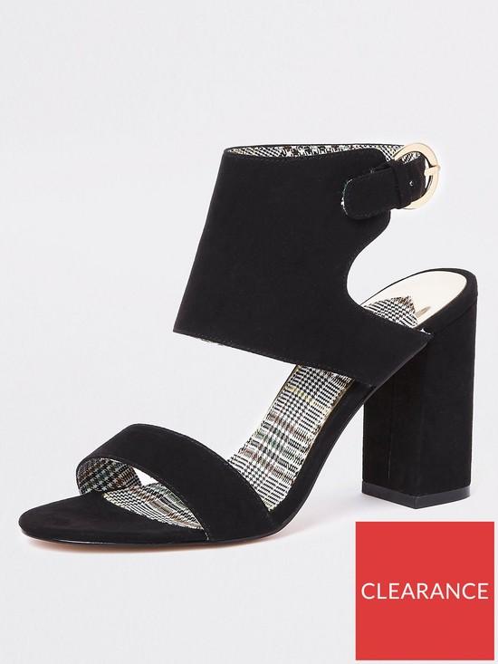bd70c587ac River Island River Island Wide Fit Block Heel Sandals - Black | very.co.uk