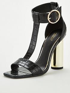 9981b2b0677 Michelle Keegan Bluebell T-Bar High Round Heel Sandal - Black