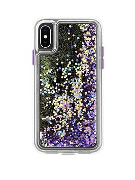 Case-Mate Waterfall Snow Globe Effect Protective Case In Purple Glow Iphone Xs & Iphone X