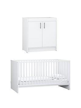 Little Acorns Santorini Cot Bed  Changer Set - White