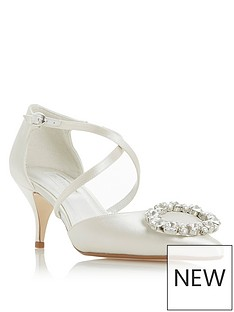 8dc5c9267f91 Dune London Bridal Crushing Heeled Bejewelled Kitten Heeled Shoes - Ivory