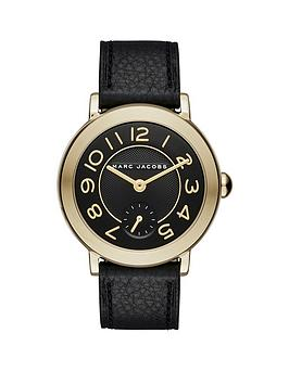 marc-jacobs-marc-jacobs-riley-black-and-gold-dial-with-mini-dial-and-black-leather-strap-ladies-watch