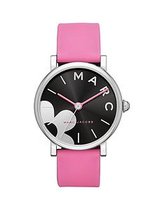 marc-jacobs-marc-jacobs-classic-black-and-silver-daisy-with-pink-detail-dial-pink-leather-strap-ladies-watch