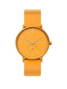 skagen-skagen-aaron-yellow-dial-yellow-silicone-strap-watch