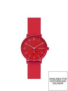skagen-skagen-aaron-red-dial-red-silicone-strap-watch