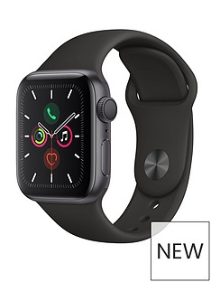Apple Watch Series 5 (GPS), 40mm Space Grey Aluminium Case with Black Sport Band