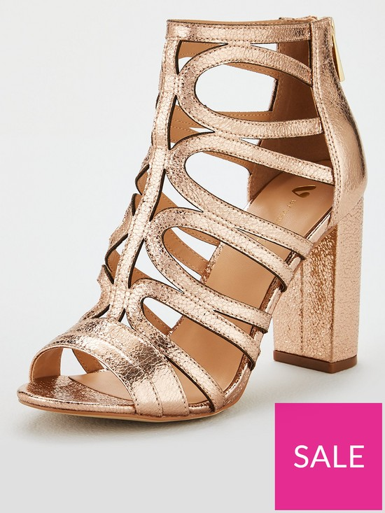 b89121f488 V by Very Button Caged Heeled Sandal - Rose Gold | very.co.uk