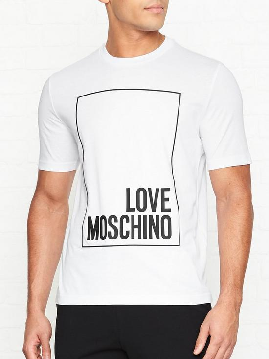 33a3b6654a LOVE MOSCHINO Rubber Print Box Logo T-shirt - White | very.co.uk