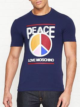 love-moschino-peace-multi-colour-print-slim-fit-t-shirt-blue